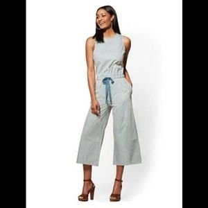 New York & Company Blue Striped Culotte Jumpsuit M